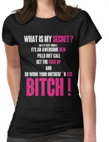 WHAT IS MY SECRET ? WHITE&PINK Womens Fitted T-Shirt
