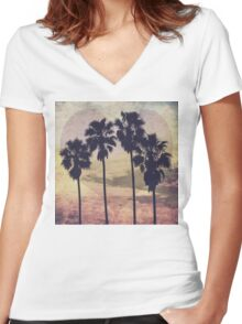 Heart and Palms Women's Fitted V-Neck T-Shirt