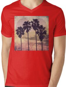 Heart and Palms Mens V-Neck T-Shirt