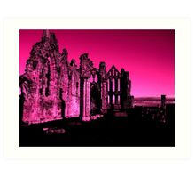Whitby Abbey, Light Purple Art Print