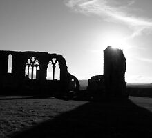 Whitby Abbey, Black & White by VonRooke