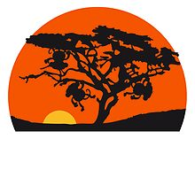 Africa tree sunset monkey by Style-O-Mat