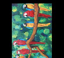 Colorful Red Blue Yellow Parrots - iPhone iPod iPad by PhoneCase