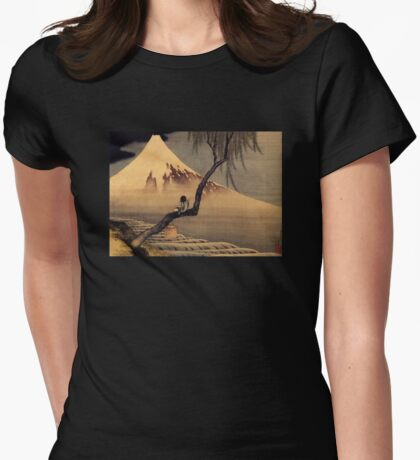 'Boy In Front Of Fujiama' by Katsushika Hokusai (Reproduction) Womens Fitted T-Shirt