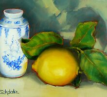 Lemon And Chinese Pot by Margaret Stockdale