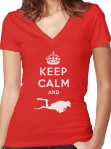 Keep Calm and Dive Women's Fitted V-Neck T-Shirt