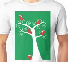 Christmas Birds in a Tree Unisex T-Shirt