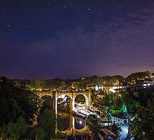 Knaresborough railway viaduct and the River Nidd Gorge by Spookydaz