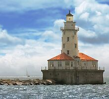 City - Chicago IL - Chicago harbor lighthouse by Mike  Savad