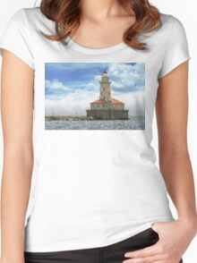 City - Chicago IL - Chicago harbor lighthouse Women's Fitted Scoop T-Shirt