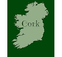 Cork Ireland with Map of Ireland Photographic Print