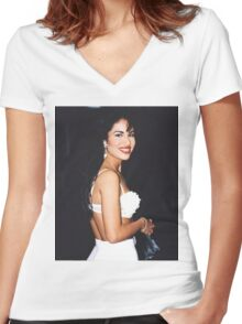 All White Women's Fitted V-Neck T-Shirt