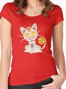 Meowth Pokemuerto | Pokemon & Day of The Dead Mashup Women's Fitted Scoop T-Shirt