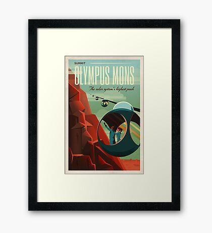 THE VOLCANO OF MARS - Olympus Mons | Space | X | Retro | Vintage | Futurism | Sci-Fi Framed Print
