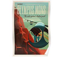 THE VOLCANO OF MARS - Olympus Mons | Space | X | Retro | Vintage | Futurism | Sci-Fi Poster