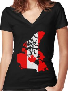 Map of Canada Women's Fitted V-Neck T-Shirt