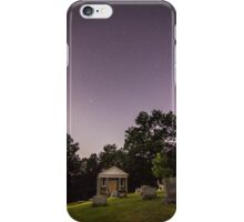 Clear starry night sky at Evans City Cemetery Chapel home of Night of the Living Dead 0375-A iPhone Case/Skin