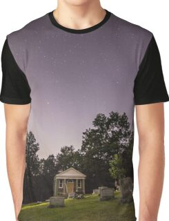 Clear starry night sky at Evans City Cemetery Chapel home of Night of the Living Dead 0375-A Graphic T-Shirt