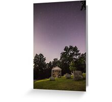 Clear starry night sky at Evans City Cemetery Chapel home of Night of the Living Dead 0375-A Greeting Card