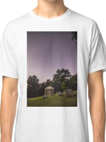 Clear starry night sky at Evans City Cemetery Chapel home of Night of the Living Dead 0375-A Classic T-Shirt
