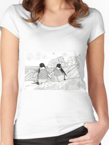 Two Penguins in wait. Women's Fitted Scoop T-Shirt
