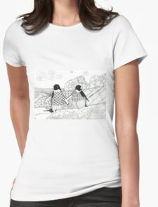 Two Penguins in wait. Womens Fitted T-Shirt