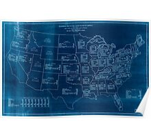 Civil War Maps 1705 Statistical map of the United States of America Inverted Poster