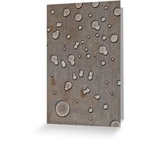 Water droplets on old steel plate Greeting Card