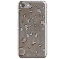 Water droplets on old steel plate iPhone Case/Skin