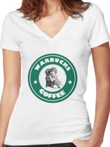 Warbucks Coffee Women's Fitted V-Neck T-Shirt