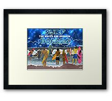 "SURF BOARDS............""the waves are breakin"" Framed Print"
