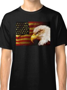 Bald eagle with flag Classic T-Shirt