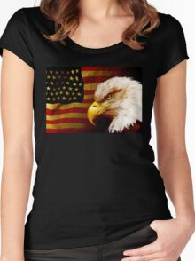 Bald eagle with flag Women's Fitted Scoop T-Shirt