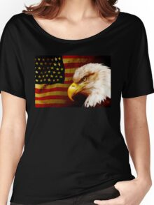 Bald eagle with flag Women's Relaxed Fit T-Shirt