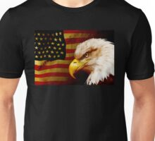 Bald eagle with flag Unisex T-Shirt