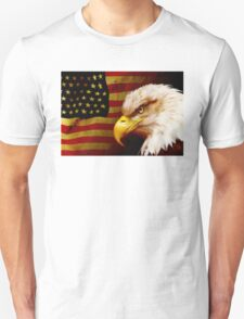 Bald eagle with flag Unisex T-Shirt