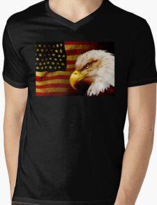 Bald eagle with flag Mens V-Neck T-Shirt
