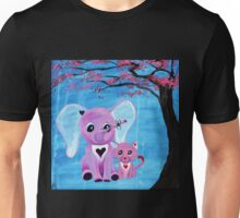 Cute Pink Elephant Cat Cherry Blossom Art Unisex T-Shirt