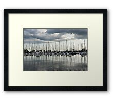 Ripples and Reflections - Ominous Gray Clouds at a Marina Framed Print