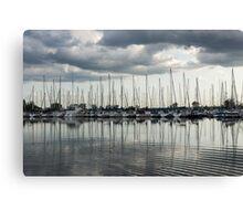 Ripples and Reflections - Ominous Gray Clouds at a Marina Canvas Print