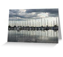 Ripples and Reflections - Ominous Gray Clouds at a Marina Greeting Card