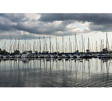 Ripples and Reflections - Ominous Gray Clouds at a Marina Photographic Print
