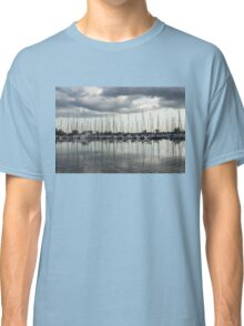 Ripples and Reflections - Ominous Gray Clouds at a Marina Classic T-Shirt