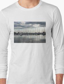 Ripples and Reflections - Ominous Gray Clouds at a Marina Long Sleeve T-Shirt