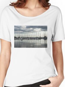 Ripples and Reflections - Ominous Gray Clouds at a Marina Women's Relaxed Fit T-Shirt