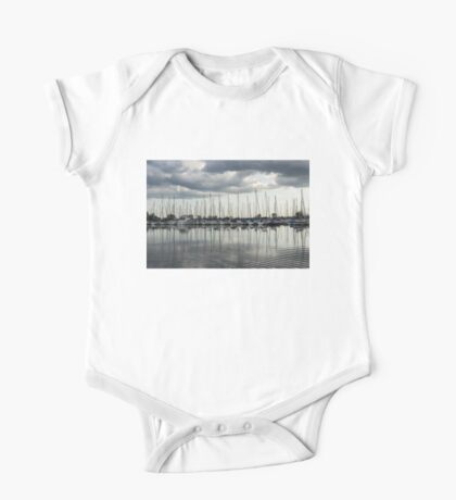 Ripples and Reflections - Ominous Gray Clouds at a Marina One Piece - Short Sleeve