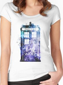 Doctor Who Tardis Bad Wolf Watercolor Women's Fitted Scoop T-Shirt