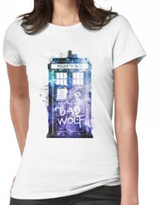 Doctor Who Tardis Bad Wolf Watercolor Womens Fitted T-Shirt