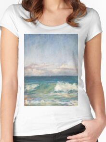 Flynns Beach clouds & waves Women's Fitted Scoop T-Shirt