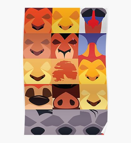 Minimalist Lion King Icons Poster